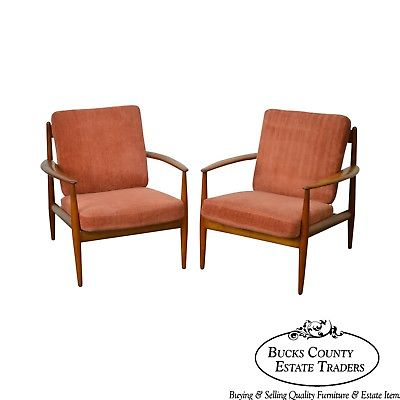 Arne Vodder France & Daverkosen Danish Modern Pair of Teak Lounge Chairs