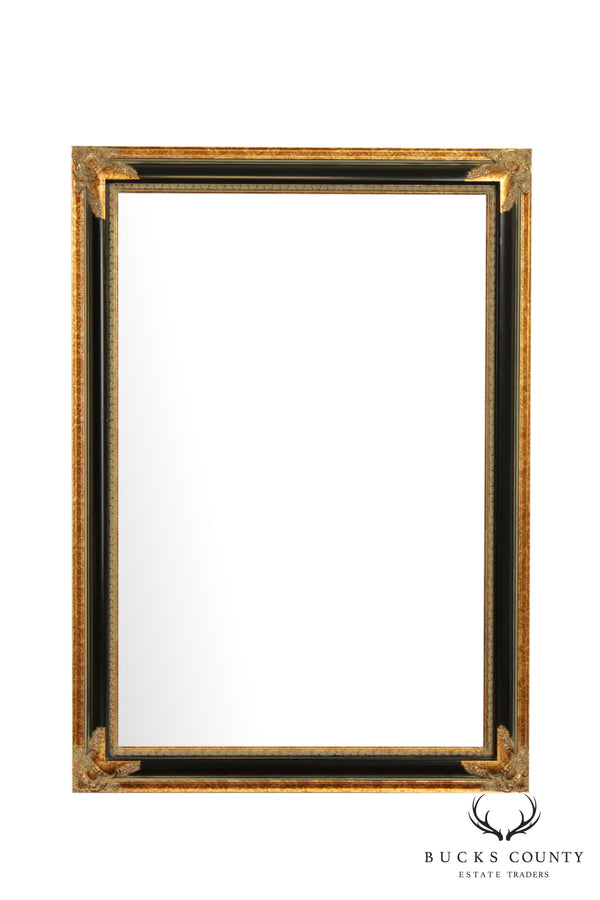 "30"" x 42"" Black and Gold Beveled Wall Mirror"