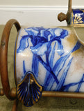 Blue and Gold Royal Doulton Wash Basin with Cylindrical Hot Water Holder in Copper Frame