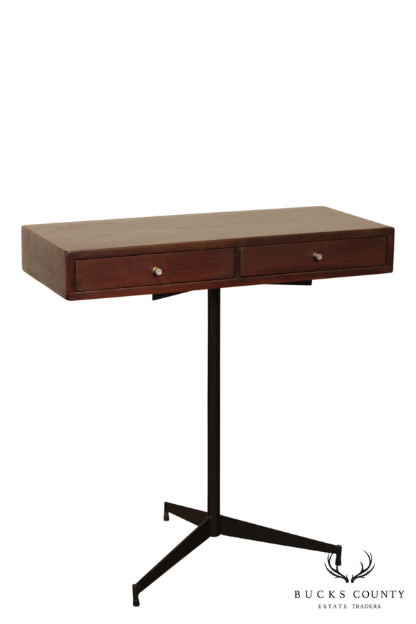 Mid Century Modern Floating Walnut 2 Drawer Console, Iron Base - After Paul McCobb