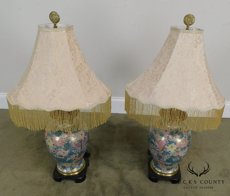 Wildwood Pair of Porcelain Vase Lamps with Flowers and Butterflies