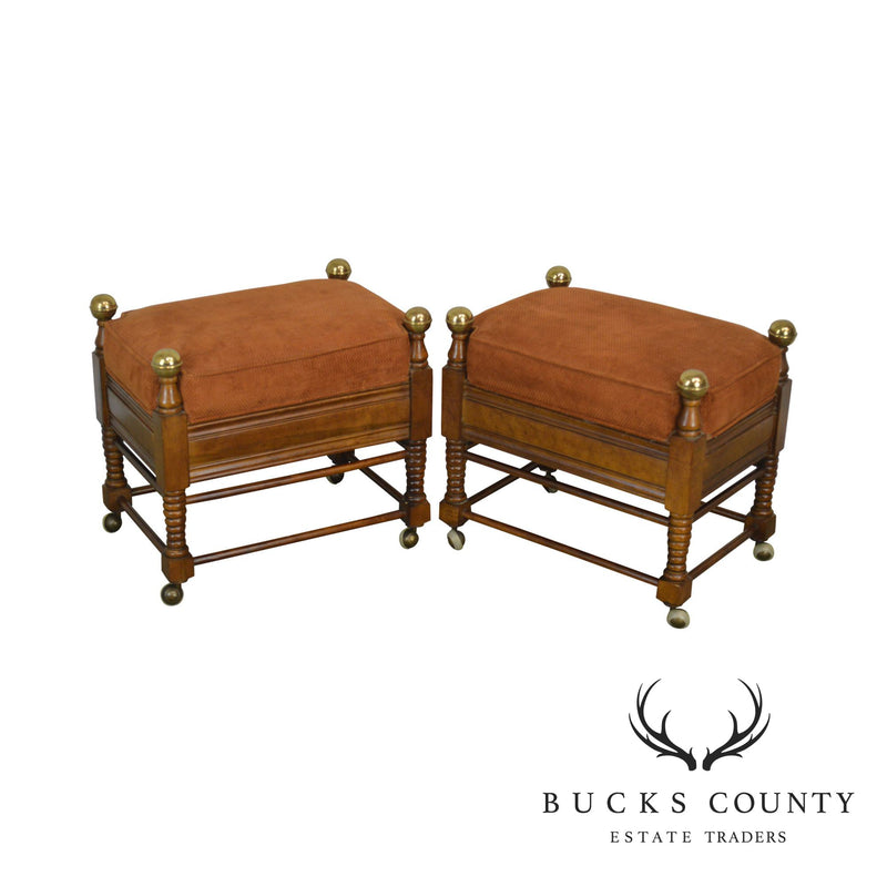 Jessup Furniture Corp. Victorian Style Pair of Turned Leg Stools