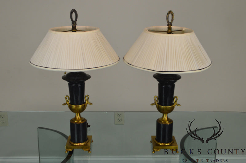 French Marble & Gold Spelter Vintage Pair of Urn Lamps