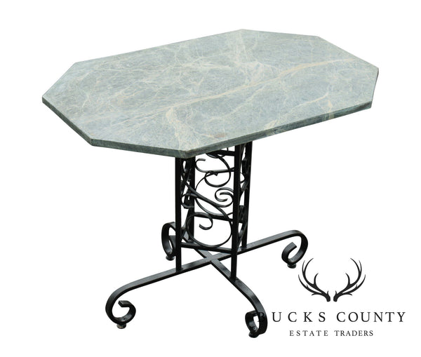 Custom Wrought Iron Garden or Patio Bistro Table With Green Marble Top