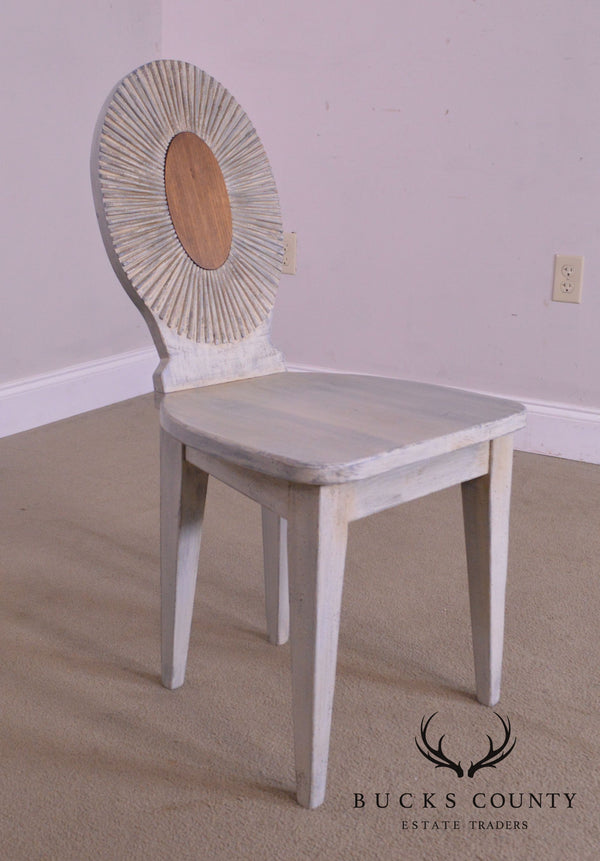 PS Collection Hand Crafted Blue Painted Wood Sunburst Back Side Chair