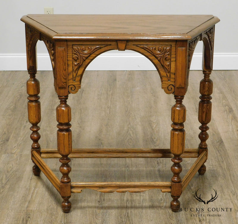 Jacobean Style 1920's Carved Solid Oak Console Table