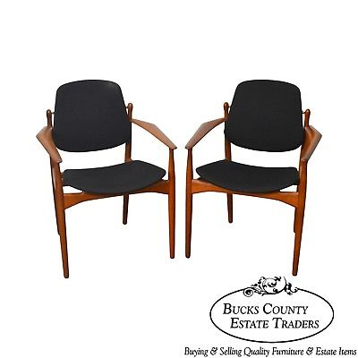 Arne Vodder Danish Modern Teak Frame Floating Seat Pair of Arm Chairs