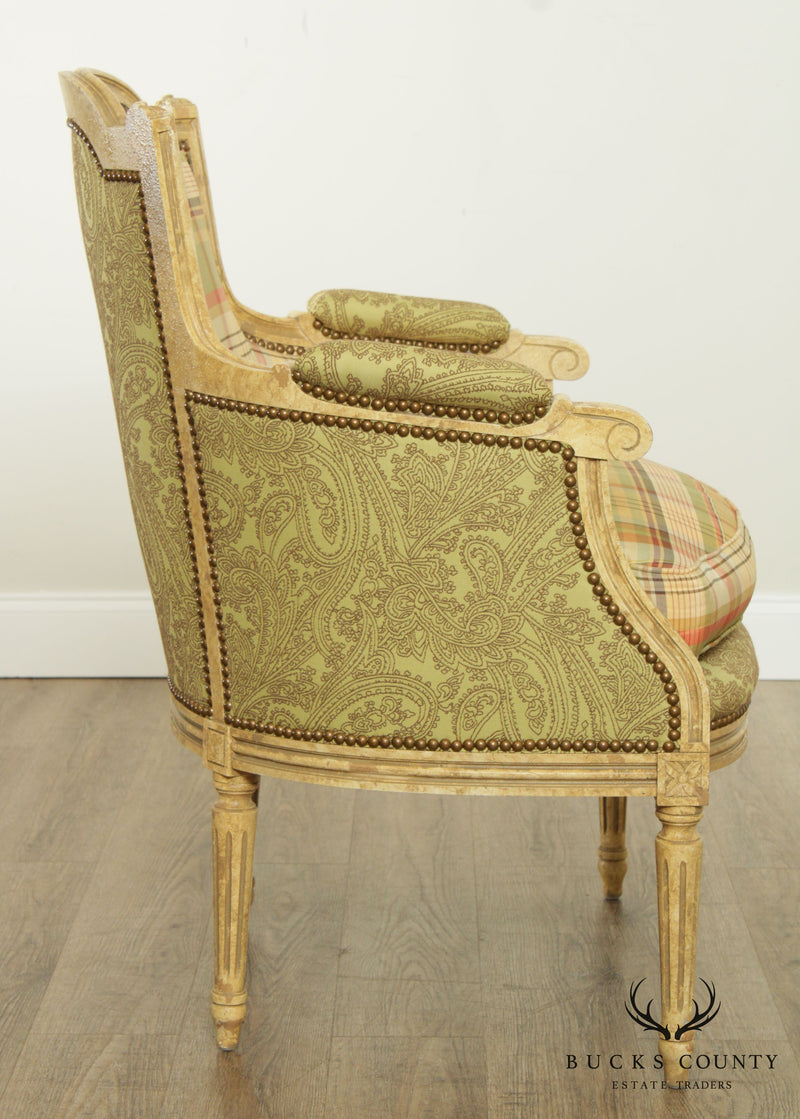 Hickory White French Louis XVI Style Paint Frame Bergere Chair