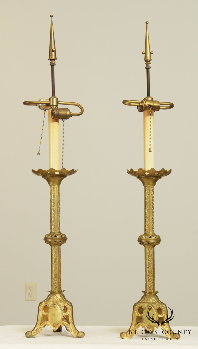 Gothic Revival Antique Aesthetic Brass Pair Converted Candlesticks Lamps