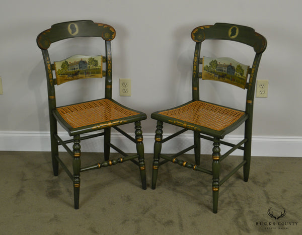 Hitchcock The Adams Old House Limited Edition Hand Painted Pair Side Chairs (C)