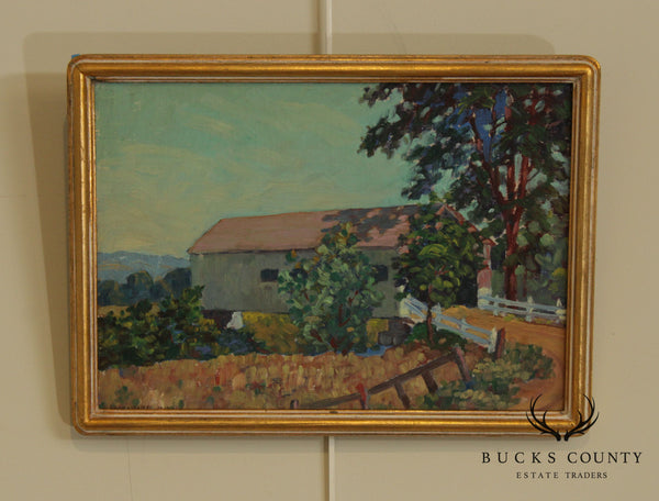 Edward Walker Framed Oil Painting of a Covered Bridge
