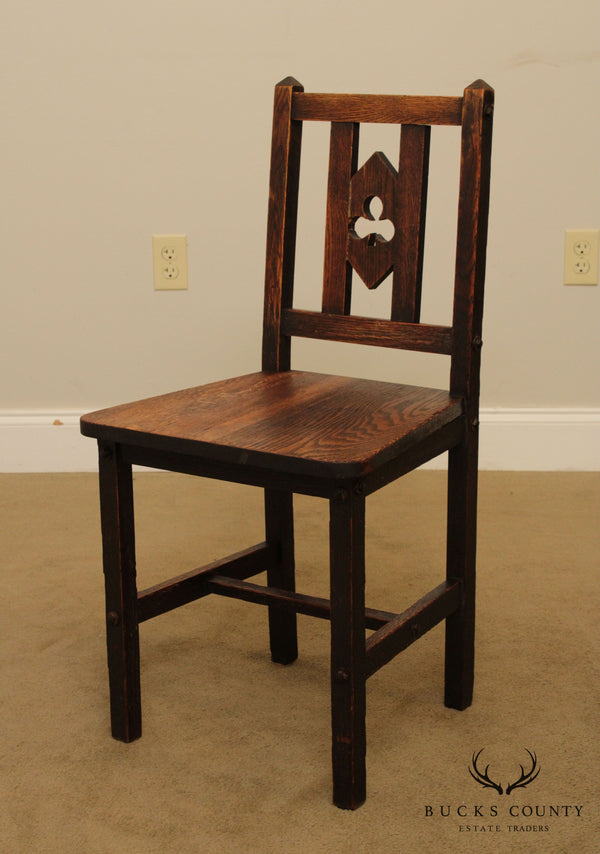 H. T. Cushman Antique Arts & Crafts Period Oak Side Chair