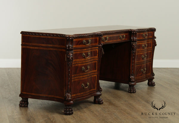 Lloyd Buxton Georgian Style Mahogany Executive Desk Credenza