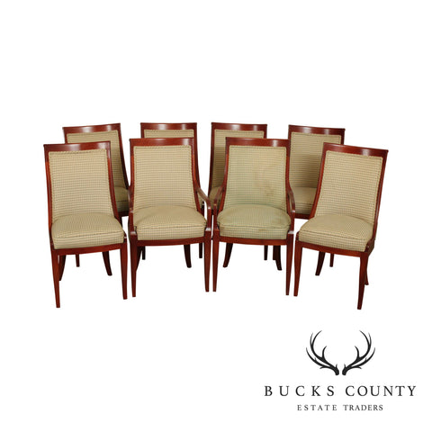 French Empire Style Custom Quality Set 8 Cherry Wood Gondola Dining Chairs