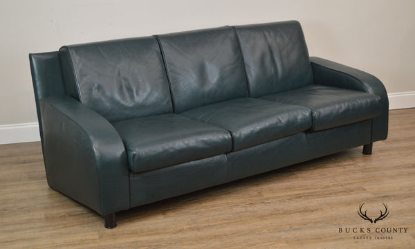 14 Mariani for Pace Dark Hunter Green Italian Leather Sofa (A)