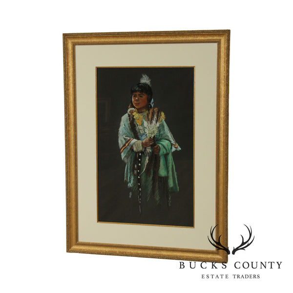 Mary Rick Pastel on Paper - Native American Girl in Pow Wow Costume