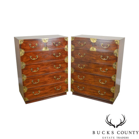 Henredon Asian Inspired Vintage pair Mahogany Campaign Style Tall Chests