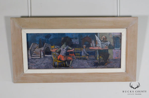 Louis Bosa (1905-1981) Untitled Signed Oil Painting Cafe Scene