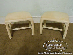 American Drew Pair of Mid Century Rattan Whitewashed Ottomans Benches Stools