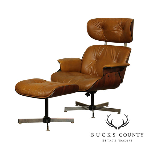 Mid Century Modern Eames Style Brown Leather Swivel Lounge Chair with Ottoman
