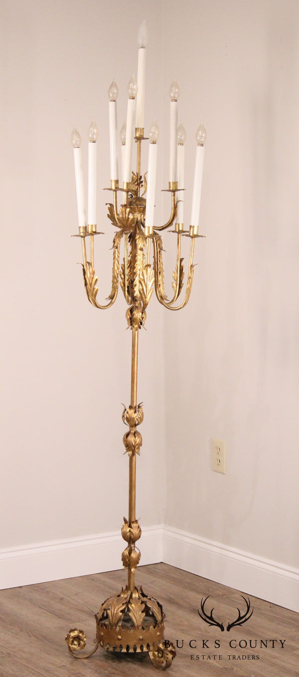 1950's Italian Gilt Metal Gold 10 Light Candelabra Floor Lamp