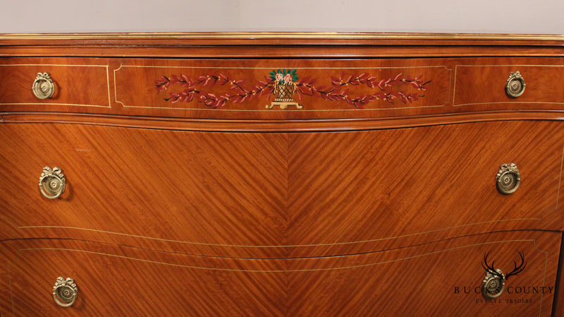 Vintage 1930's French Louis XVI Satin Wood Paint Decorated Serpentine Chest of Drawers Dresser