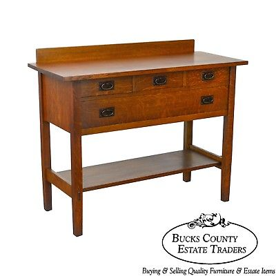 Gustav Stickley #819 Antique Mission Oak 4 Drawer Server - Gustav Stickley #819 Antique Mission Oak 4 Drawer Server – Bucks