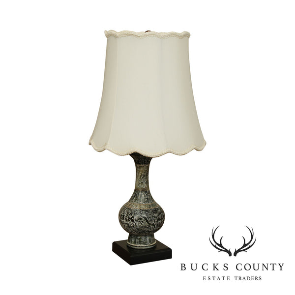 Asian Style Marble Table Lamp with Shade