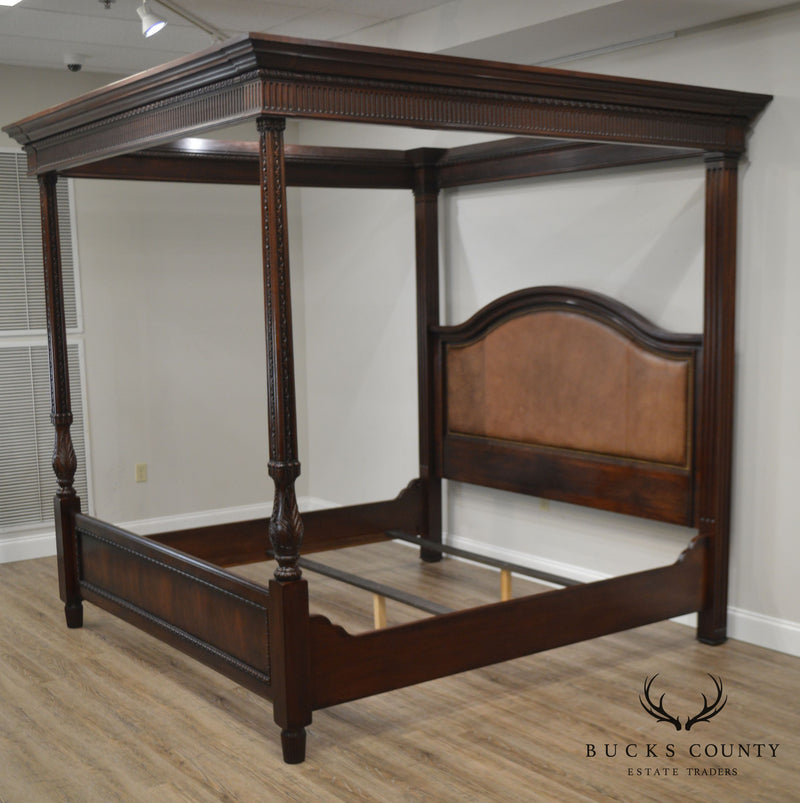 Ralph Lauren Mahogany Carved King Poster Canopy Bed with Leather Panel