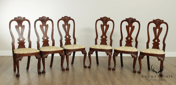 Kittinger Colonial Williamsburg Mahogany Set 6 Queen Anne Dining Chairs
