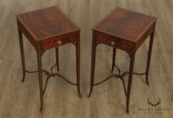Maitland Smith Mahogany Regency Style Pair One Drawer Side Tables