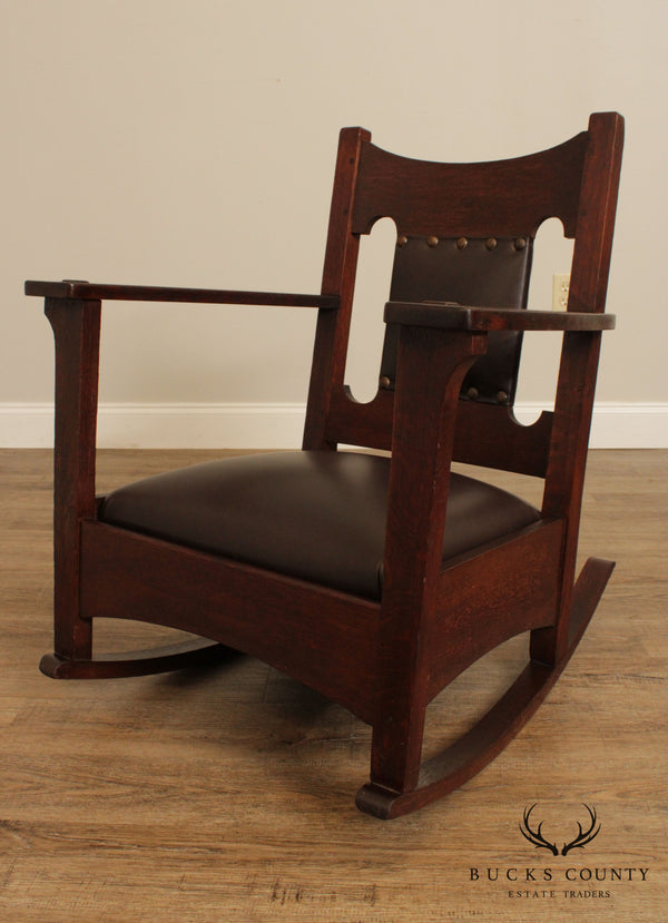 Antique Mission Oak & Leather Rocker, Rocking Chair