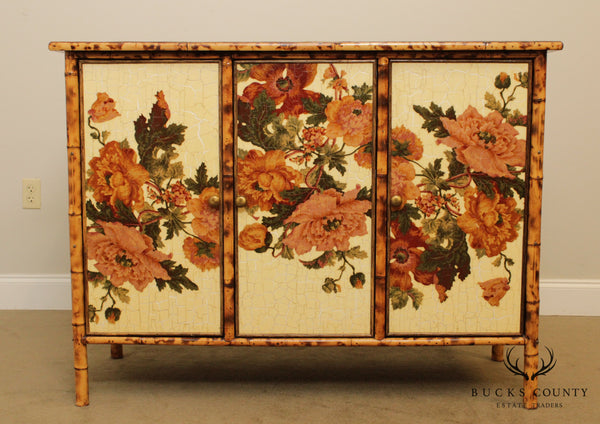 Victorian Style Burnt Bamboo Floral Decorated Sideboard Cabinet