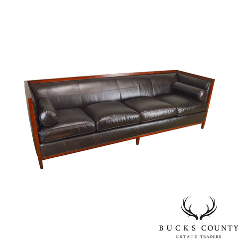 Baker Dark Brown Leather Large Box Sofa