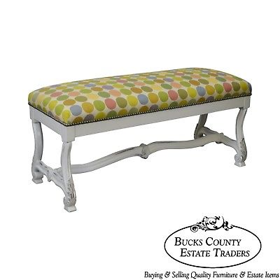 Custom Painted French Louis XIV Style Bench