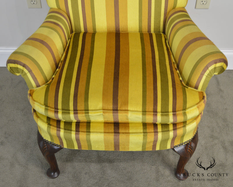Queen Anne Custom Quality Yellow Striped Upholstered Library Chair