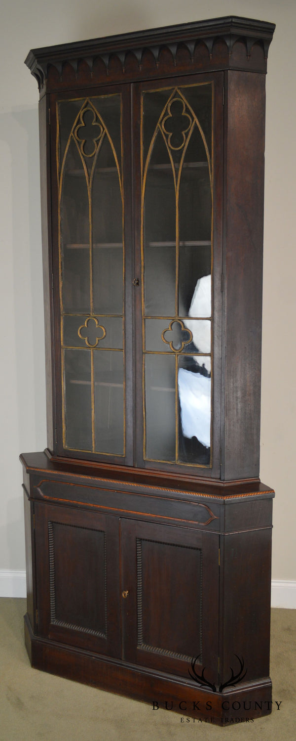 American Gothic Antique Rosewood Corner Cabinet Attributed to Meeks