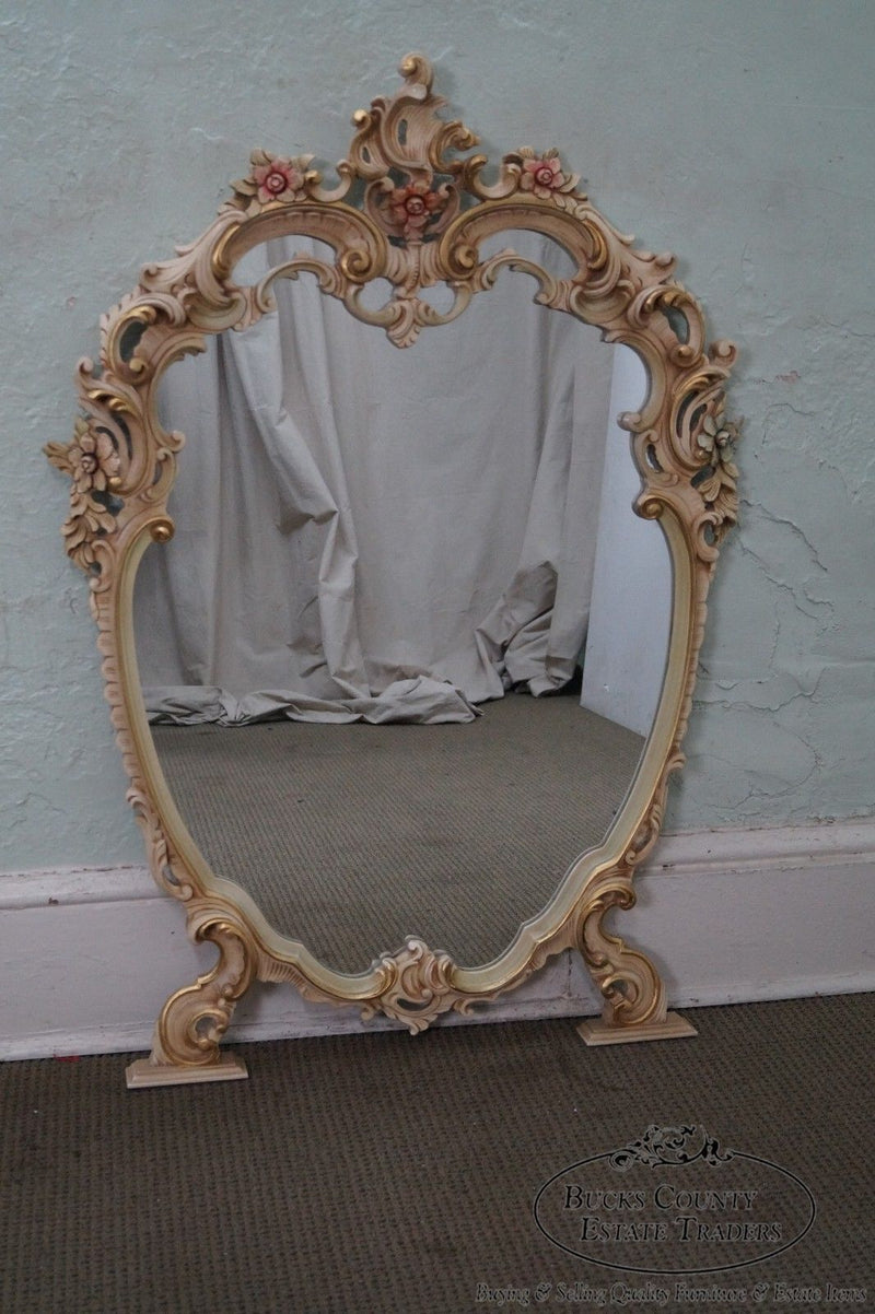 Vintage Carved Wood French Louis XV Style Mirror