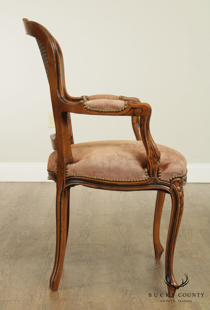 Chateau D'AX French Louis XV Style Cane Back Armchair