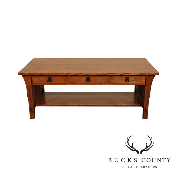 Stickley Mission Collection Oak 3 Drawer Coffee or Coctail Table