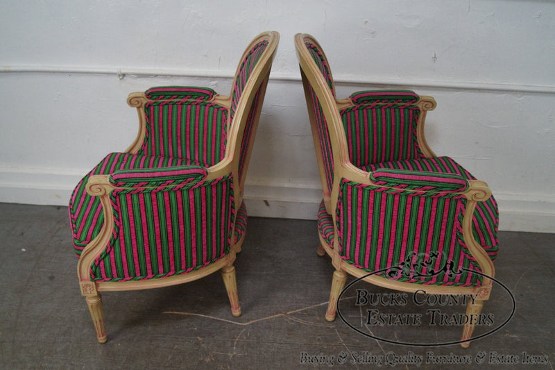Vintage Pair of Custom Colorful Pin Wheel Back French Louis XVI Style Bergere Chairs