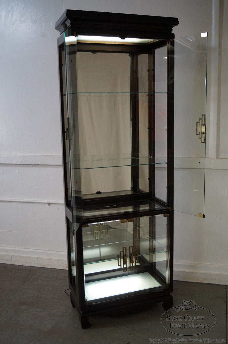 Quality Pair of Asian Inspired Modern Glass Curio Display Cabinets