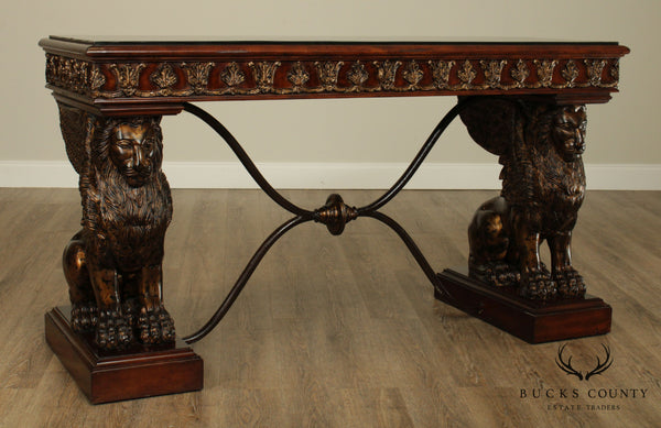Maitland Smith Renaissance Revival Console Table with large Winged Lions