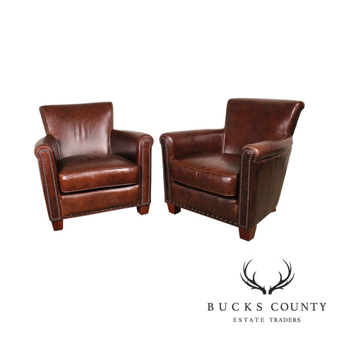 Pottery Barn Brown Leather Pair Roll Arm Lounge Chairs