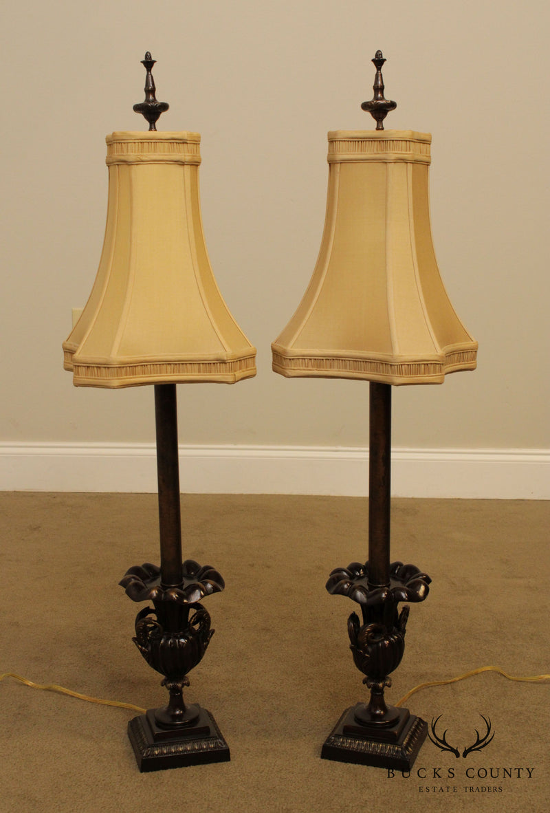John Richard French Bronze Urn Pair Table Lamps