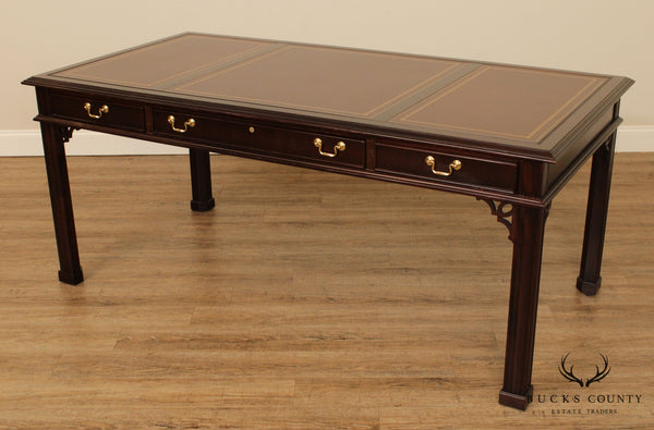Sligh Chippendale Style Mahogany Leather Top Desk