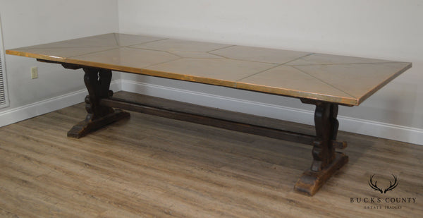 Antique 18th Century Trestle Base Dining Table with Custom 10' Copper Top