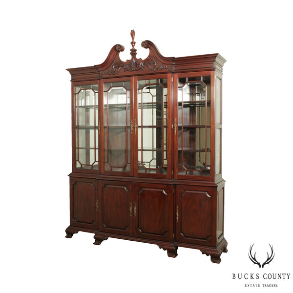 Henkel Harris Large Chippendale Style Mahogany Beveled Glass Breakfront China Cabinet #2382