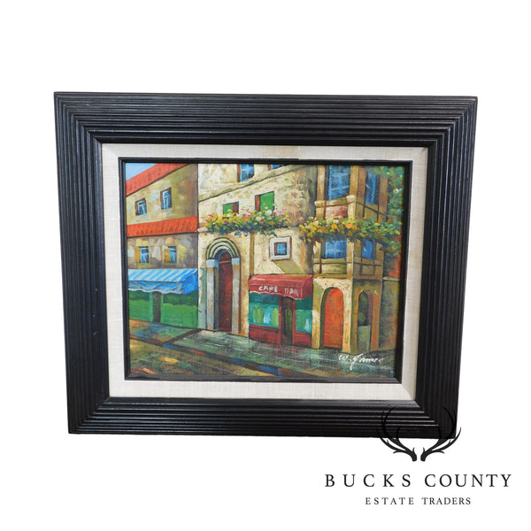Framed Painting of French Cafe/Bar and Street Signed W. James