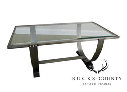 Art Deco Style Brushed Metal Glass Top Coffee Table